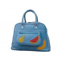 Travel leather bowling bag light blue fruits