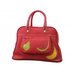 Leather Travel Bag Red Fruits bowling
