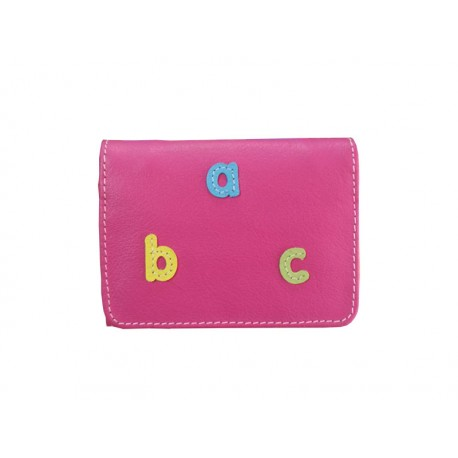 Fuchsia Wallet Card Holder abc letters