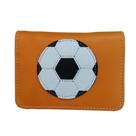 Orange Wallet Card Holder soccer ball