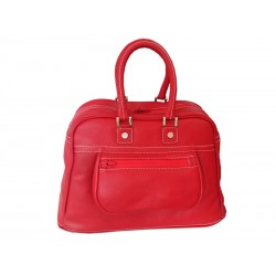 Red leather bowling bag Travel