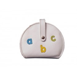 White Purse Wallet Card Holder Letters abc