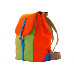 Backpack leather / textile strap closure Orange